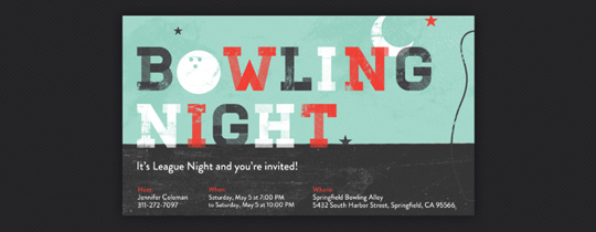 Woodblock Print Bowling Invitation