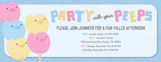 Your Peeps Blue New Invitation